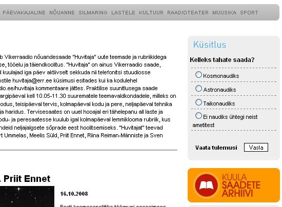 Vikerraadio gallup aadressilt huvitaja.vikerraadio.ee