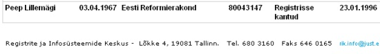 Osaühingu Hold omanik Peep Lillemägi kuulub Reformierakonda. Pilt registri lehelt