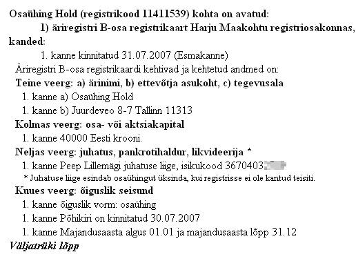 Äriregistri andmed Reformierakonna trükiste kaubamärgi taotleja kohta