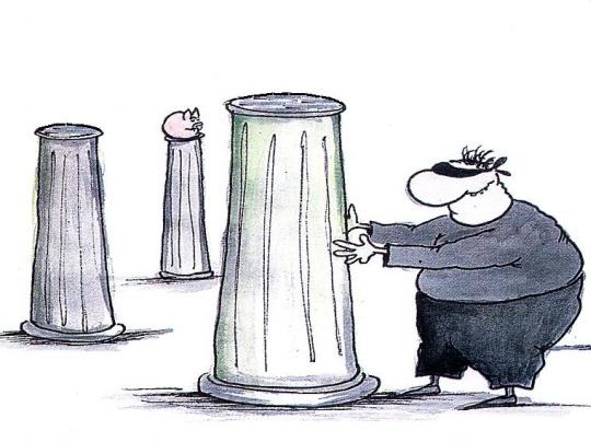 Eesti meespensionär kobab pensionisammaste poole. Raha on kadunud, ukradina! Kohendasin Urmas Nemvaltsi 2002. a. karikatuuri