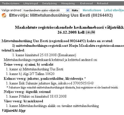 Äriregistri väljavõte MTÜ Uus Eesti. Asutaja ja ainus juhatuse liige on Reformierakonna liige Erik Salumäe
