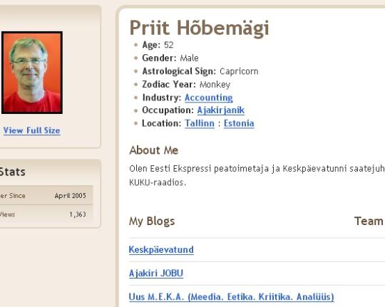 Priit Hõbemägi blogspot.com blogija profiil