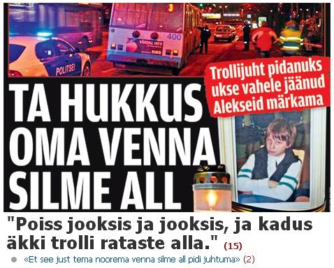 Õhtuleht müüs esikaanel trolli rataste all hukkunud lapse surma. Pilt kodulehe fragmendist.