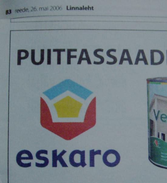 Kuusnurka sisaldav logo firma reklaamist Linnalehes. Foto Virgo Kruve