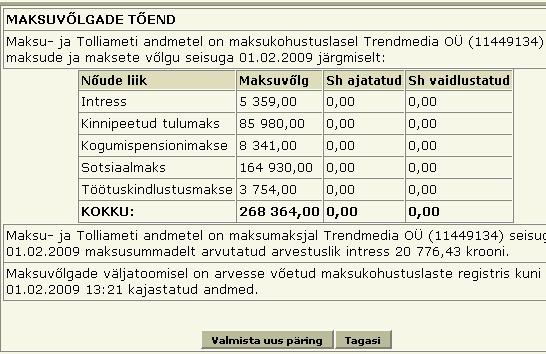 trend24.ee portaali omanud firma seis EMTA andmebaasis.