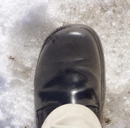 Tallinnas kõndimine katab tolmuga jalatsid. Autori foto.