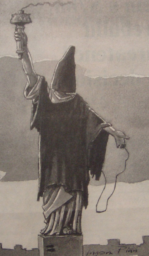 Karikatuur 1.04.2004 Financial Times. Abu Ghraib Liberty statue