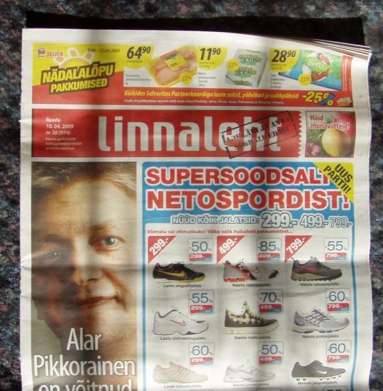 Ajalehe Linnaleht esikaas 10. aprillist 2009. Varsti ongi see leht lugejate eest trellide taha pandud ja keegi ei tea kust seda leida. Foto Virgo Kruve
