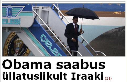 Sõnad Obama saabus on kirjutatud 51 punktise kirjaga