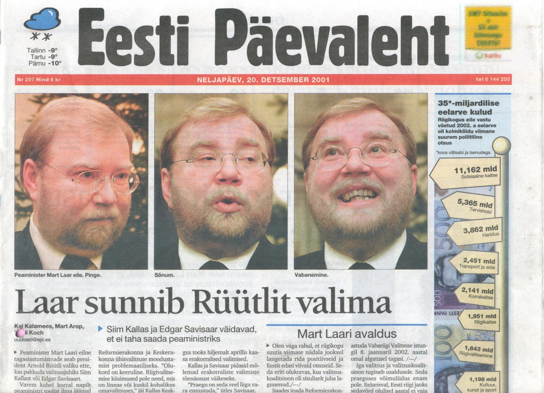 20. detsember 2001 Eesti Päevalehe esikaas, Kolmikliit on surnud ja peaminister Mart Laar lahkub.