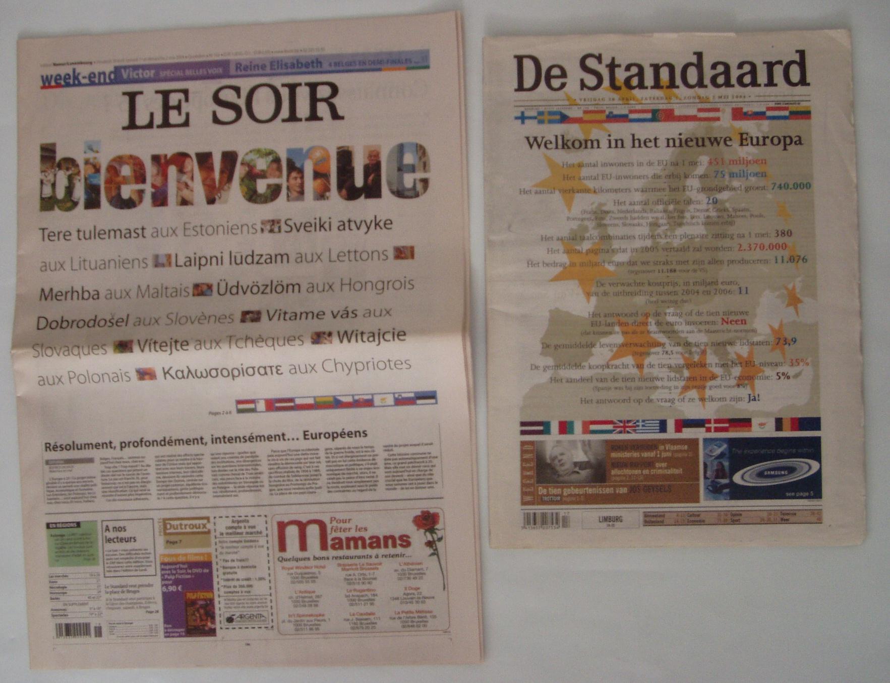 Uusi liikmesriike tervitavad 1. mai ajalehed LE Soir ja De Standard. Foto Virgo Kruve
