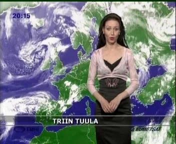 Triin Tuula 8. mail 2009 ilmateadet lugemas. Mis seal vahet, milline ilm on lähipäevil tulemas kui vaadata on lihtsalt ilus. Pilt ETV