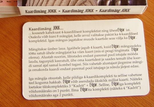 Kaardimäng JOKK reeglid. Kohandatud Toompea Keskfraktsioonis mängimiseks. Foto Virgo Kruve