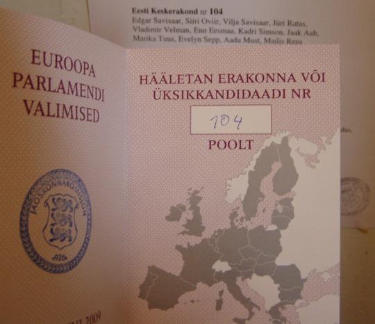 Valides 104 ei visanud ma oma häält prügikasti. Samuti teatas 6. juunil ETV valimisdebatil Edgar Savisaar, et temal (ja erakonnal) on 104 head ideed Eestis vahetuse tegemiseks. Foto Virgo Kruve