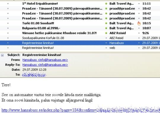 hansabuss.ee esimene spam kiri justkui listi lisamise kohta. Received: from sbs ([192.168.0.1]) by mail.hansabuss.ee with Microsoft SMTPSVC