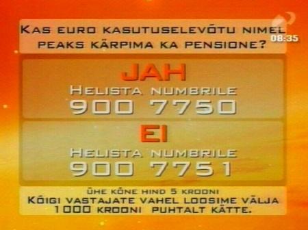 Rentsli Reporter gallup euro raha kasutusele ja pensioni vähendamine asjatu seostamine segaduse tekitamiseks. 27. august 2009 saatest.