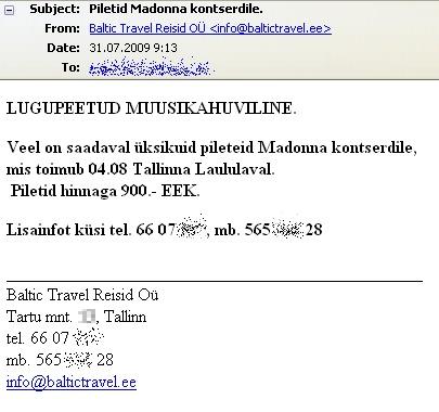 madonna kontsert libapilet pakkumine (fake ticet offer)