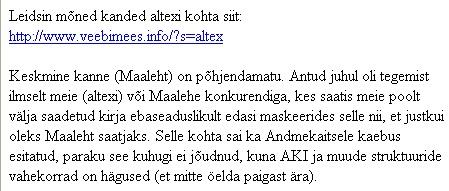 altex.ee kaebas ennast spam kirja saatjana andmekaitse inspektsiooni. Katke nende saadetud kirjast seoses lehega www.veebimees.info