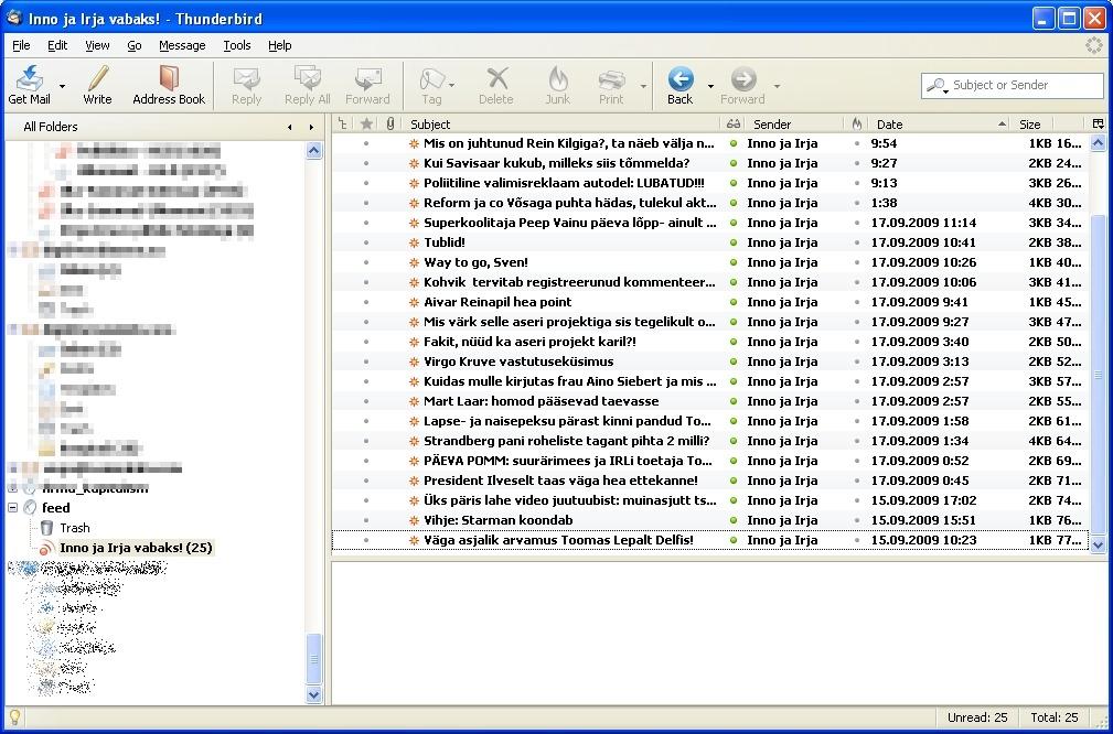 Mozilla thunderbird kasutamine rss ja feed uudisvoog lugejana