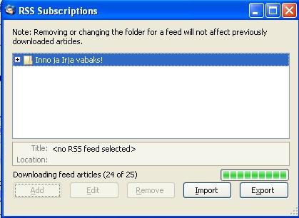 toimub RSS-i kättesaadavate postituste tõmbamine (maksimaalselt 25 viimast)