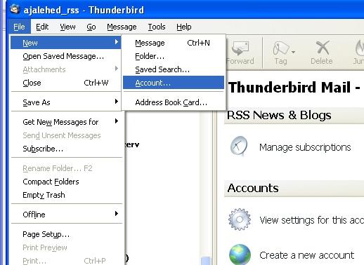 Mozilla Thunderbird kasutamine RSS feed ehk uudisvoo lugejana
