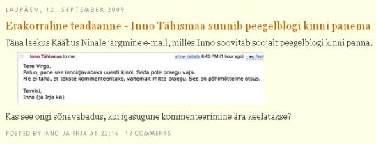 innojairjavabaks.blogspot.com Kääbus Nina ei ole kusagil nimetanud, et ta oleks Virgo. Seega peksab Inno ikka puhta segast