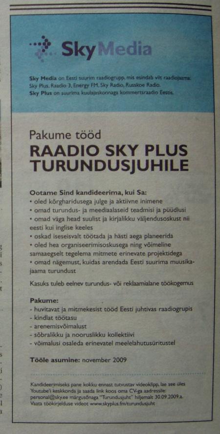 sky plus turundusjuht taevaraadio epl9sept2009
