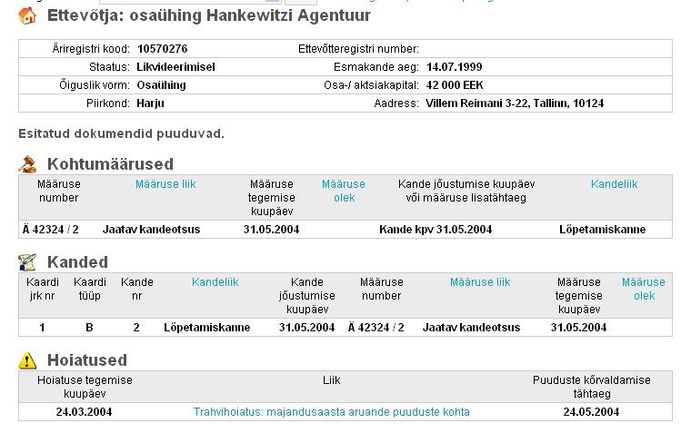 Hankewitzi Agentuur on likvideerimisel olnud viimased 5 aastat.