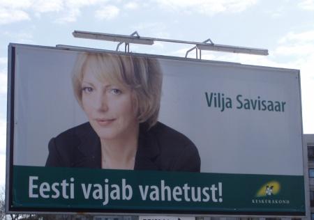 Eesti vajab vahetust oli Euroopa Parlamendi valimiskampaania loosung, Vilja Savisaar. Foto 15. aprill 2009 Virgo Kruve