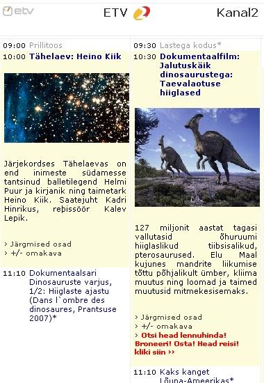dinosauruste film televisioonis 25 oktoober 2009. andmed www.kava.ee