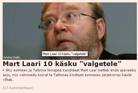 mart laar valged poliitikud vihkamisest tulenev liigitus. äripäev.ee lehel