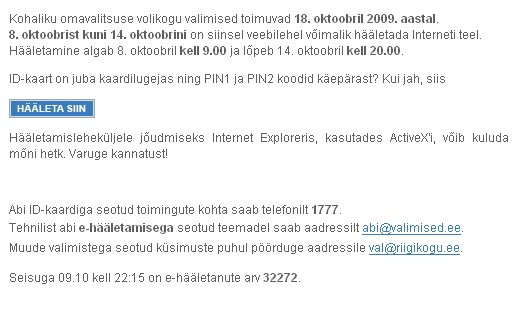 0808405 elektrooniline e-haaletus osalus 32272 häält