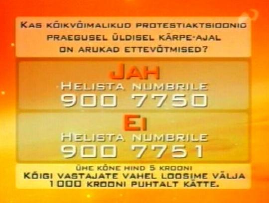 18. novembri Rentsli Reporter küsitlus kutsub ülesse valitsuse vastu mitte protesteerima, sest IRL-i langemine opositsiooni ei ole neile meelepärane. Samas saates oli pikk lugu ka Brüsselisse deporteeritud vana mehe Tunne Kelamiga, keda laarikud ei lase Eestis vanadust veeta. Kohal käis Juku-Kalle Raid.
