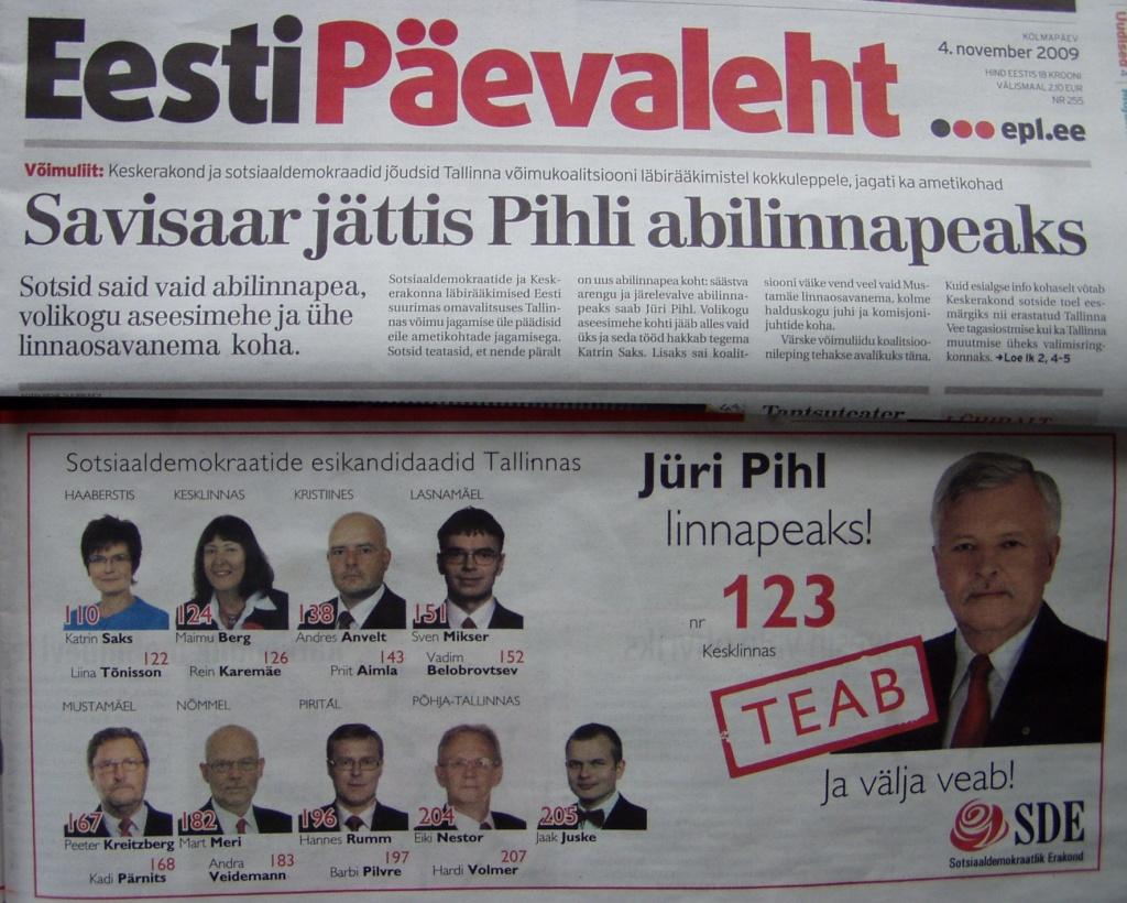 sde valimislubadus 16 oktoobri õhtulehest ja 4. novembri EPL Jüril Pihl abilinnapeaks. Foto Virgo Kruve