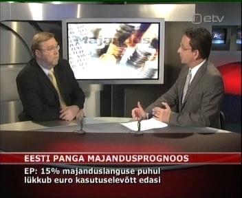 22.04.2009 ETV Eesti Pank prognoos majanduslangus viivitab euroga