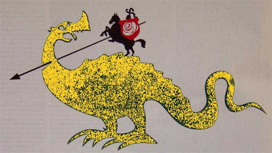 sde lohe tapja jüri pihl teab ja kapos välja veab. Autori tõlgendus SDE KOV valimiste reklaamist. Draakon on kollase-roheline selle pärast, et Reformierakond ja Keskerakond on mõlemad sama ideoloogiaga: liberaalsed.