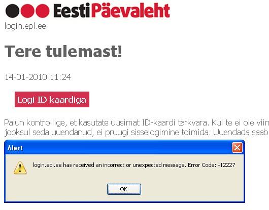 epl id-kaardiga logimine error 12227