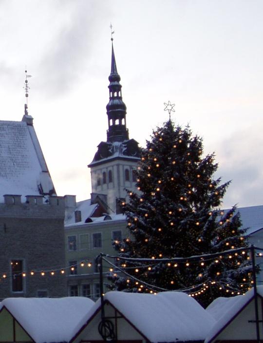 Kuusnurk Tallinna Raekoja platsi kuusel. Foto Virgo Kruve 31. detsember 2009