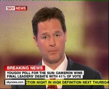 valimiste debatt liberaalide esindaja Clegg