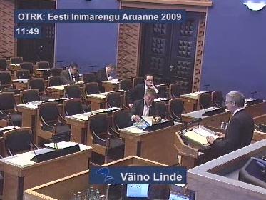 Riigikogu tühi saal arutab inimarengu aruannet 22. aprill 2010