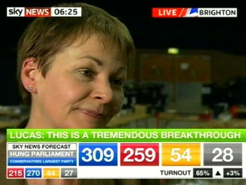 Caroline Lucas esimene rohelise erakonna kandidaat. kaader SkyNews