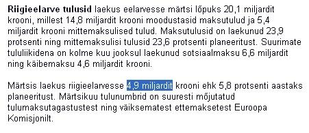 Rahandusministeeriumi koduleht teatab 4.9 miljardi krooni laekumisest. www.fin.ee