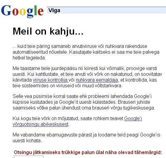 Google viga: meil on kahju