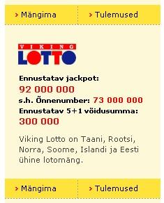 viking lotto 92 miljonit