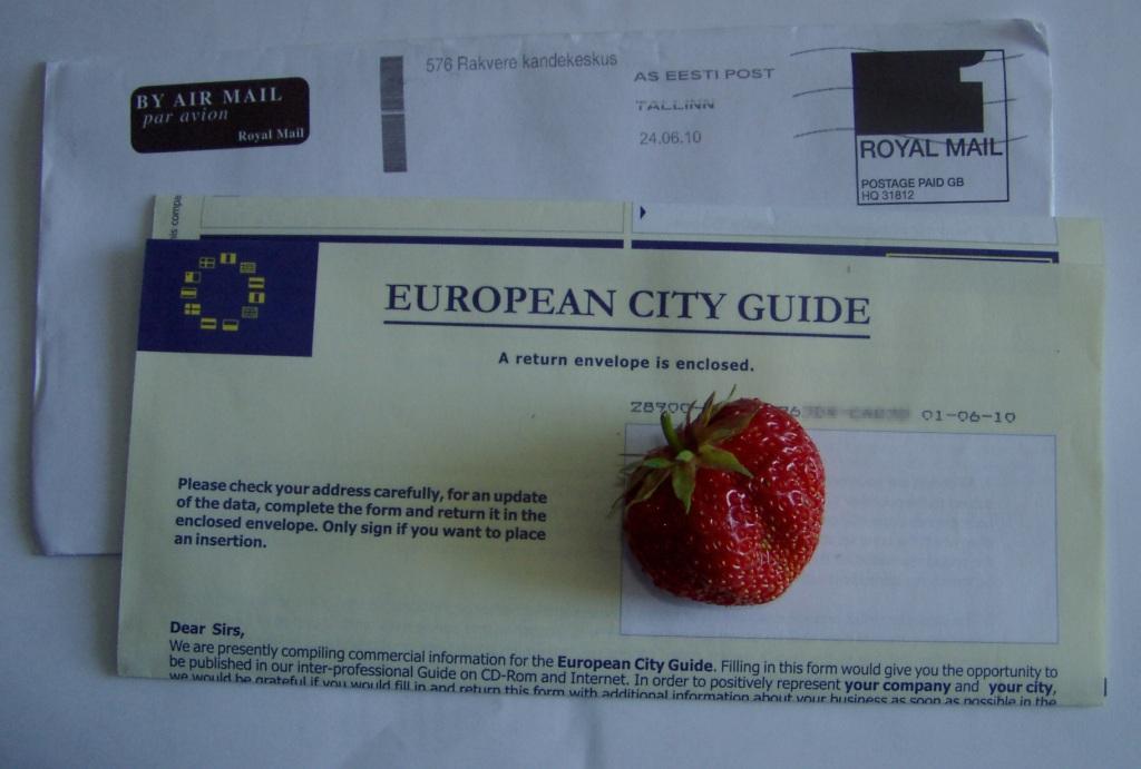 European City Guide teine kiri ja erinevale firmale. Äriühingu andmed oli peale trükitud eesti keeles ja pärinesid ilmselt mõnest Eesti on-line kataloogist. Mitte mingil juhul ei tohi seda kirja Hispaania aadressile tagasi saata, sest sellega nõustute 997 € eest avaldama firma andmed European City Guide kataloogis (internetis ja  CD-ROM plaadil) ning lisaks veel kahes (2) järgnevas kataloogis. Seega 3x997 € ja sellele lisandub veel käibemaks. Foto Virgo Kruve