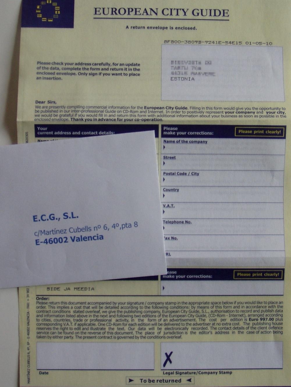 European City Guide kiri Hispaania pettus väljapressimine. Foto Virgo Kruve