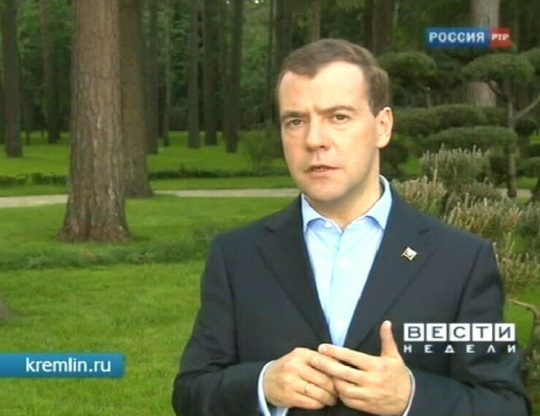 Vladimir Medvedev G20 kohta arvamust avaldamas 6. juuni 2010 PBK kaader