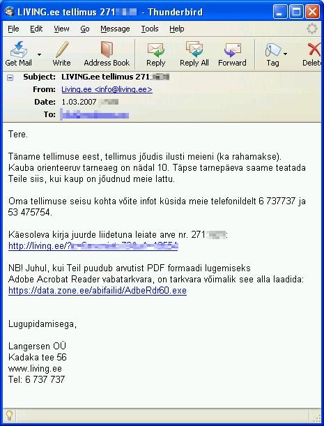 Living.ee tellimus 2007. on alla kirjutatud Langersen OÜ nimel. Seega kuulus mööblipood sellel ajal Ove Siiro firmale Langersen OÜ ja alles 2008. suvel registreeritu Living.ee osaühing on selle kaaperdanud. Foto: autori e-mail postkastist