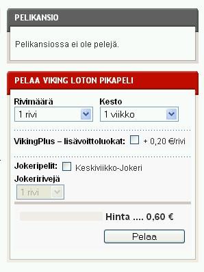 Viking Lotto maksab Soomes 0,60 € ehk umbes 9,38 krooni Eesti Panga kursi järgi. Eesti Loto küsib pileti eest 10 krooni. On kuulda olnud, et eurole üleminekul tahvad hinnaks kehtestada 1 €. Pilt on veikkaus.fi lehelt