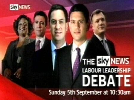 Suurbritannia kloonid kandidaadid leiboristide partei juhi kohale. 5. septembri debatt kaader SkyNews